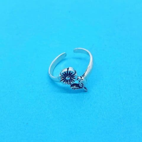 Genuine Sterling Silver Flower and Leaves Toe Ring One Size Fits All