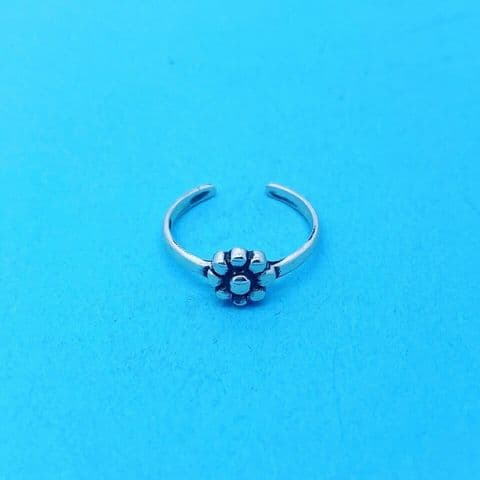 Genuine Sterling Silver Flower Design Toe Ring One Size Fits All