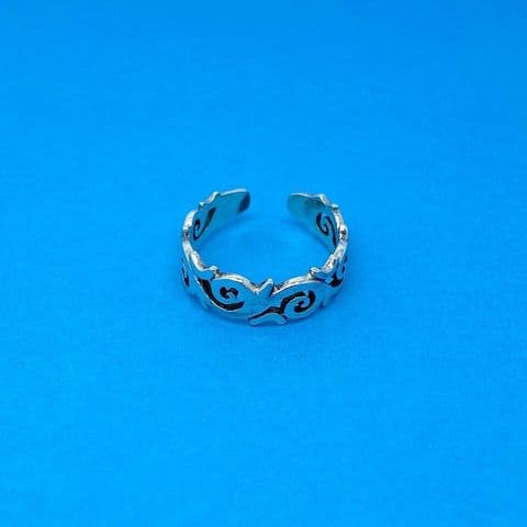Genuine Sterling Silver Toe Ring With Spiral Pattern One Size Fits All