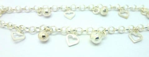 Sterling Silver 925 Chain Link Ankle / Anklet Chain with Beads and Hearts