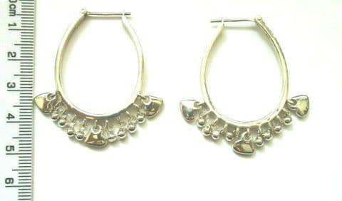 Sterling Silver 925 Gypsy Style Oval Hoop Earrings with Hearts and Beads Drops