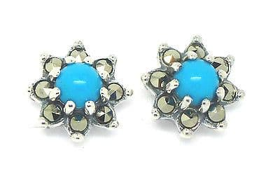 Sterling Silver 925 Marcasite and Turquoise Cluster Stud Earrings