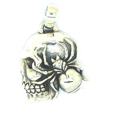 Sterling Silver 925 Skull and Spider Pendant