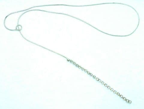 Sterling Silver 925 Snake Chain Lariat Necklace with White Crystal Tassle
