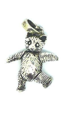 Sterling Silver 925 Teddy Charm / Pendant with Movable Arms and Legs