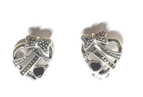 Sterling Silver 925 Vintage Marcasite Set Heart and Bow  Design Clip on Earrings