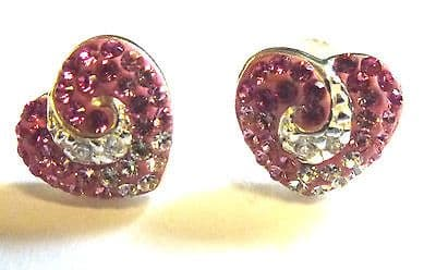 Sterling Silver and Pink Crystal Heart Stud Earings                       B22641