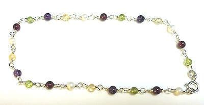 Sterling Silver Ankle Chain /Anklet with assorted Coloured Beads          B15282