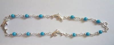 Sterling Silver Anklet with Dolphins and Blue Beads                       B15256