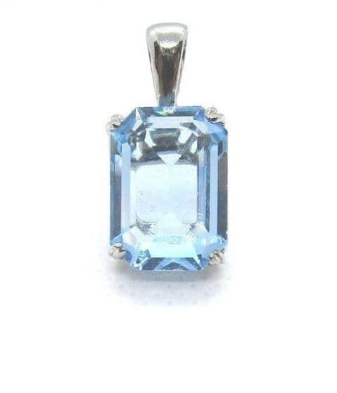 Sterling Silver Blue Cubic Zirconia Rectangular Shape Pendant