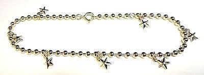 Sterling Silver Chunky Bead Ankle Chain /Anklet with Solid Star Drops     B15246