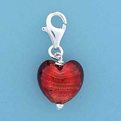 Sterling Silver Clip on Murano Glass Heart Charm                          B90675