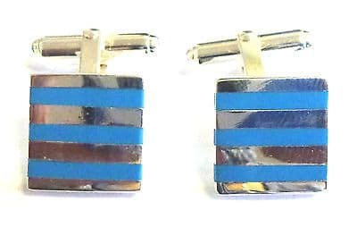 Sterling Silver Cufflinks with Reconstituted Turquoise Stripes            B92017