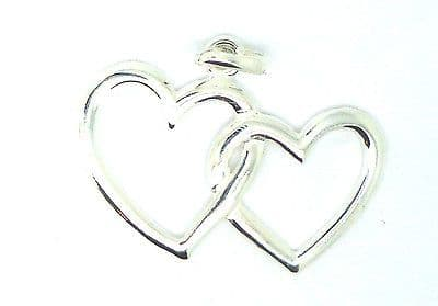 Sterling Silver Cut Out Double Heart Pendant                               80856
