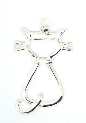 Sterling Silver Cutout Cat Pendant                                        80834
