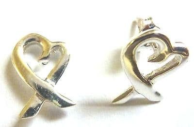 Sterling Silver Cutout Hearts and Kisses Stud Earings                     B11710