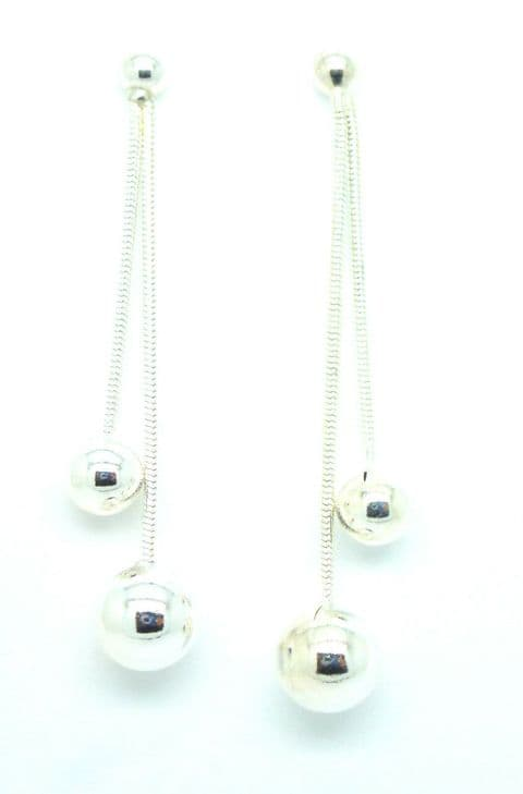 Sterling Silver Dangling Bead Drop Earrings                                64557
