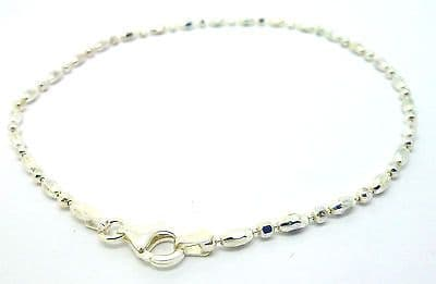 Sterling Silver  Diamond Cut Bead and Pellet Link Ankle Chain             A40845