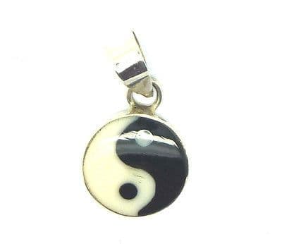 Sterling Silver Enamelled Yin Yang Pendant available in Three Sizes
