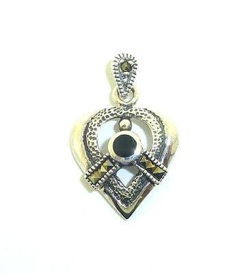 Sterling Silver  Fancy Heart Pendant with Marcasite and Onyx              B37448