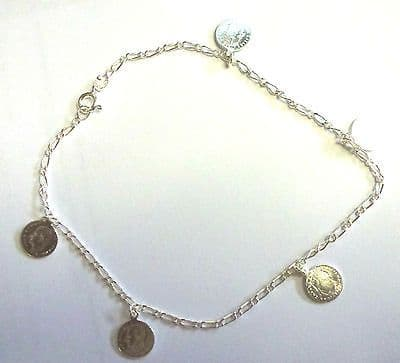 Sterling Silver Five Hanging Circular Coins Ankle Chain / Anklet          B15278