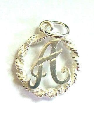 Sterling Silver Initial in Rope Edged Circle                              B18006
