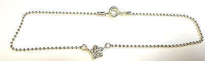 Sterling Silver Light Bead Ankle Chain /Anklet with Crystal Set Flower    B15247