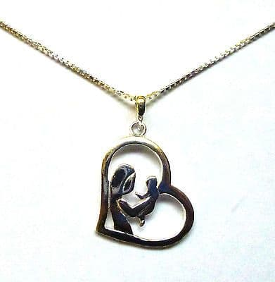Sterling Silver Mother and Child in Heart Necklace                        B32126
