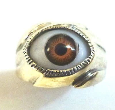 Sterling Silver Small Brown Eye Ring                                      B79987