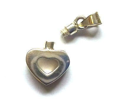 Sterling Silver Small Cutout Heart Perfume Bottle Pendant with or without funnel