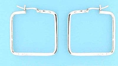 Sterling Silver Square Shape Creole Fitting Hoops                         B60136