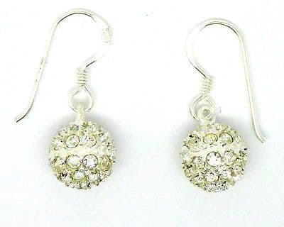 Sterling Silver White Glitter Ball Drop Earrings on Hook Wire              69041