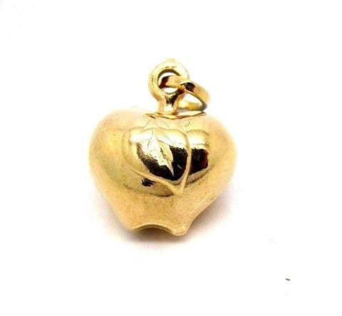 Vintage Hallmarked  9ct Yellow Gold Apple Charm /  Pendant