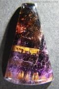 Amethyst and Citrine Quartz cabochon with Goethite inclusions, Brazil.  26.75 carats. ** SOLD **