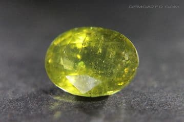 Apatite, yellow-green faceted, Madagascar.  7.30 carats.