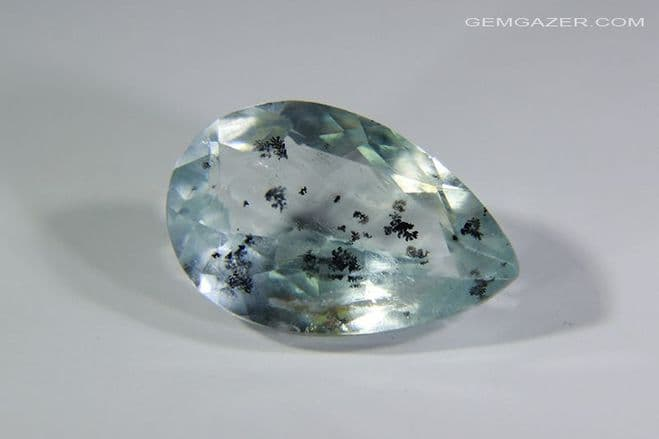 Aquamarine with Goethite inclusions.  faceted, Brazil. 2.95 carats. ** SOLD **