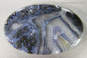 Banded Plume Agate cabochon, Turkey.  108.42 carats.