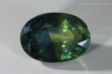 Bi-colour blue and green Sapphire, faceted, Madagascar. 1.20 carats. ** SOLD **
