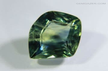 Bi-colour blue and green Sapphire, faceted,  Tanzania. 1.24 carats.