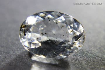 Colourless Topaz with Biotite inclusions, faceted, Brazil.  12.14 carats.
