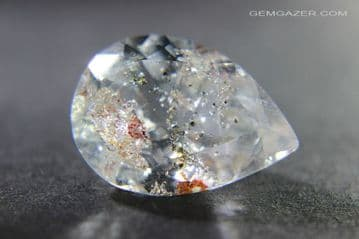 Colourless Topaz with Chlorite inclusions, faceted, Brazil.  31.39 carats.
