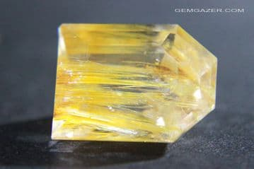 Colourless Topaz with golden yellow Limonite inclusions, faceted, Pakistan.  24.64 carats.