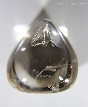 Enhydro Smoky Quartz cabochon with moving bubble, Madagascar. 46.26  carats. (See Video)