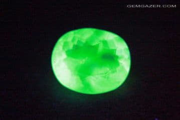 Fluorescent Hyalite Opal, faceted, Hungary. 1.33 carats.