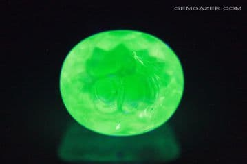 Fluorescent Hyalite Opal, faceted, Hungary. 1.42 carats.