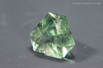 Fluorite, green faceted, fluorescent, County Durham, England. 4.42 carats (Video)