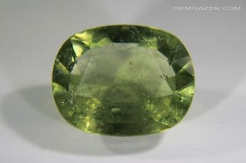 Green Sapphire, faceted, Tanzania (unheated).  7.19 carats. (See Video)