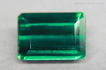 Hydrothermal synthetic Emerald, faceted, Russia.  3.43 carats.