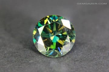 Moissanite, green faceted. 1.02 carats.