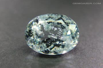 Pale blue Topaz with Fluorite inclusions, faceted, Brazil.  5.71 carats.